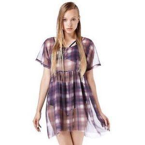 UNIF purple black plaid sheer dress size S